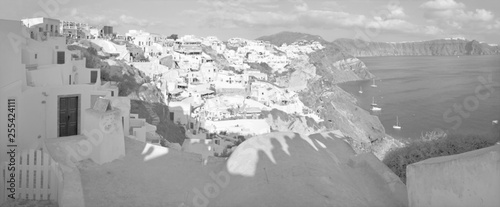 SANTORINI, GREECE - OCTOBER 4, 2015: The look from Oia to east in evening light.