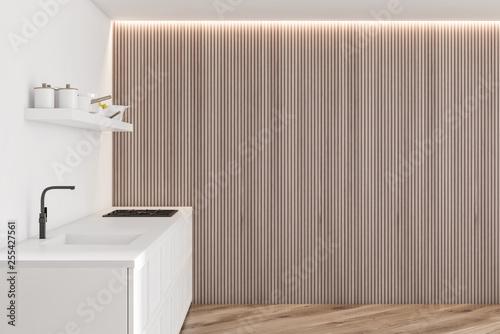 Modern disign white kitchen interior with window light. 3d Render.