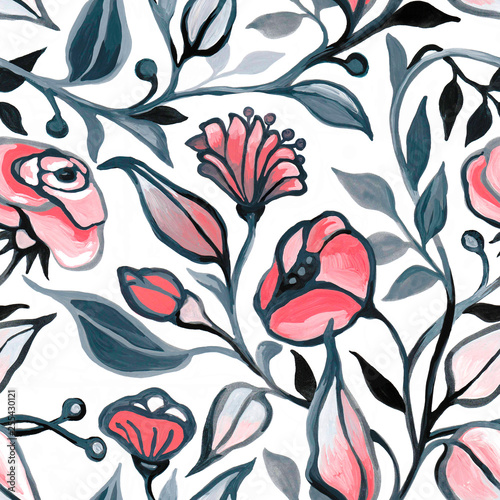 Seamless pattern with decorative flowers.  - 255430121
