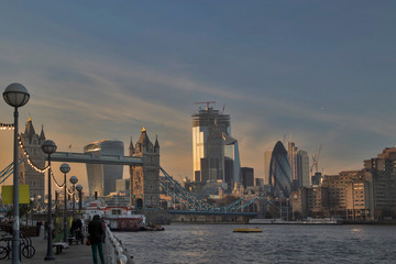 View of the Tower Bridge from the embankment at sunset