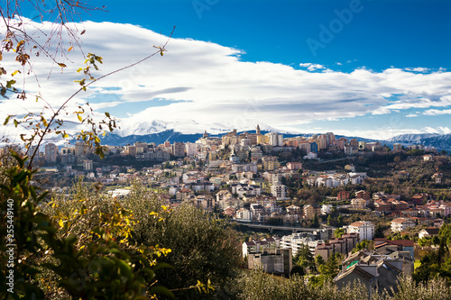 Chieti, one of the oldest cities in Abruzzo, with the snow-covered Maiella behind
