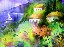 """Постер, картина, фотообои """"Watercolor colorful bright textured abstract background handmade . Mediterranean landscape . Painting of architecture and vegetation of the sea coast , made in the technique of watercolors from nature"""""""