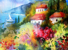 "Постер, картина, фотообои ""Watercolor colorful bright textured abstract background handmade . Mediterranean landscape . Painting of architecture and vegetation of the sea coast , made in the technique of watercolors from nature"""