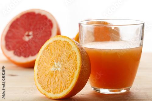 freshly squeezed citrus juice. Orange and grapefruit © Artem