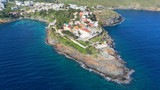 Aerial drone photo of famous and picturesque orthodox church of Panagia Kanala in island of Kythnos, Cyclades, Greece