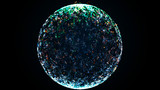 Fantastic futuristic sphere. Magic abstract banner. Abstract textured 3d spheres. Big data. 3D rendering.