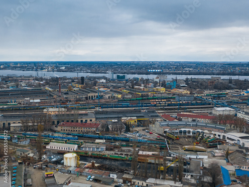 Aerial view of trains service. Panoramic image of Dnipro cityscape. (Dnepr, Dnepropetrovsk, Dnipropetrovsk). Ukraine