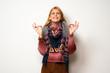 Quadro Hippie woman over white wall in zen pose
