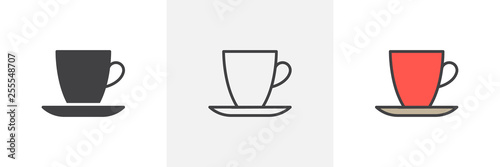 Cup and saucer icon. Line, glyph and filled outline colorful version, Coffee mug outline and filled vector sign. Breakfast symbol, logo illustration. Different style icons set. Vector graphics