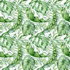 Tropical watercolor seamless pattern with green leaves illustration
