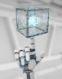 White robot hand creating future technology structure 3D rendering - 255559759