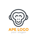ape logo element, chimp linear icon