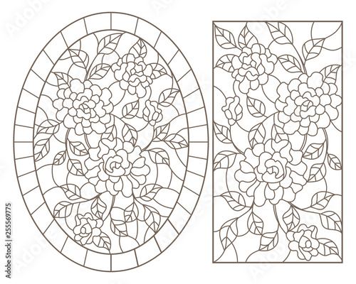 A set of contour illustrations of stained glass Windows with rosees in frames, dark contours on a white background, oval and rectangular image