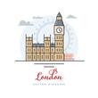 Big Ben and Westminster Palace at London, United Kingdom, flat vector illustration