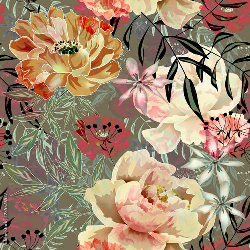 Seamless retro floral pattern.Pink, orange peonies on grey background. - 255576527