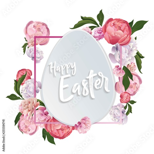 Easter card with peony flowers