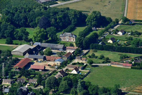 Dangu, France - july 7 2017 : aerial picture of countryside