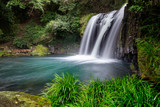 Waterfall in green forest, Japan, horizontal