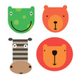 Animal face icons simple art geometric illustration