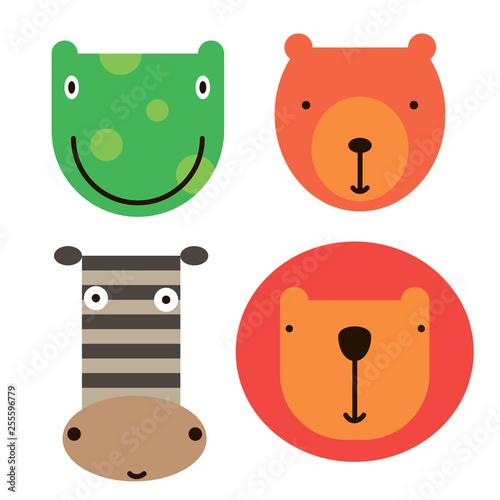 Animal face icons simple art geometric illustration - 255596779