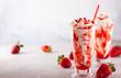 Leinwanddruck Bild - Strawberry milkshake with whipped cream.