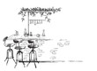 bar interior sketch, bar stand vector drawing