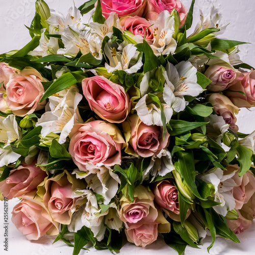 Beautiful background made from mixed white and pink flowers.