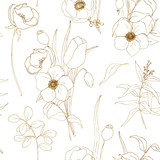 Vector anemone seamless pattern. Hand painted flowers and berries with eucalyptus leaves and branch isolated on white background for design, print or fabric. - 255631194