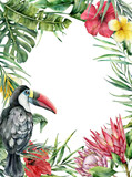 Watercolor tropical toucan and flowers card. Hand painted bird, protea, hibiscus and plumeria isolated on white background. Nature botanical illustration for design, print. Realistic delicate plant. - 255631318
