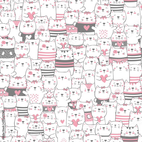 fototapeta na ścianę cute cats seamless pattern. modern hand drawn style. design for baby and child