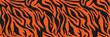 Texture of bengal tiger fur, orange stripes pattern. Animal skin print. Safari background. Vector