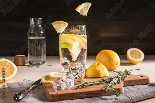 Water with lemon and herbs © anitty