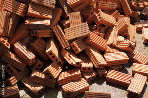 brick block in construction site industry - 255696782