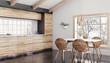 Leinwanddruck Bild - Modern wooden kitchen interior 3d rendering