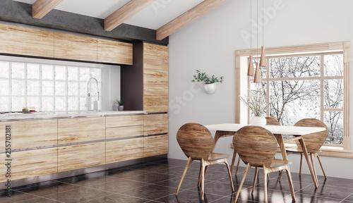 Leinwanddruck Bild Modern wooden kitchen interior 3d rendering