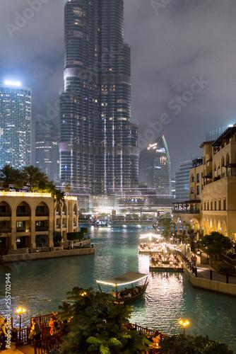 obraz lub plakat Nightscape of modern downtown Dubai by the Burj Khalifa