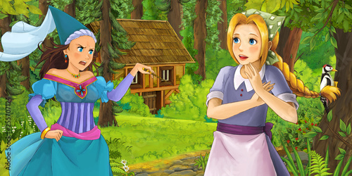 cartoon scene with happy young girl in the forest encountering sorceress hidden wooden house - illustration for children - 255707124