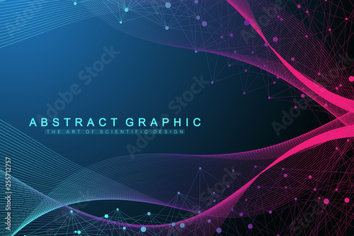 Big Genomic Data Visualization. DNA helix, DNA strand, DNA Test. Molecule or atom, neurons. Abstract structure for Science or medical background, banner © BAIVECTOR