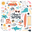 Love surfing collection. Vector illustration in cartoon doodle style of summer icons, including animals, plants and surfing equipment: surfboard, fins, leash and clothes elements. Isolated on white.