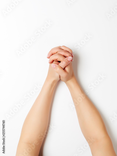 Woman hands white.