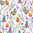 Seamless easter pattern. Spring holiday. Watercolor birds. - 255765151
