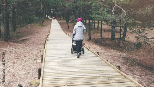 woman with stroller walking on wooden pedestrian path in forest