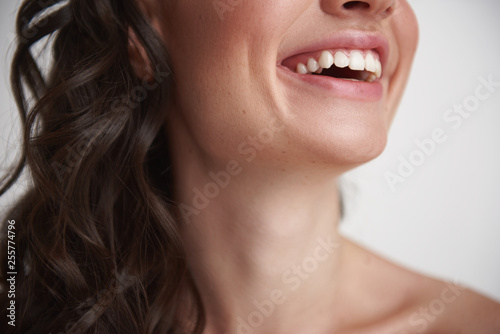 Face down portrait of happy smiling woman