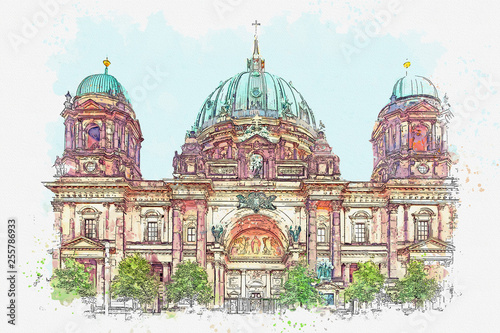Watercolor sketch or illustration of the beautiful view of the Berliner Dom in Berlin in Germany © CaptainMCity