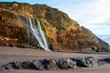 View of Alamere falls in Point Reyes near sunset with Rocks in Foreground - 255791180