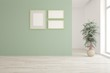 Mock up of white stylish minimalist room with green flower and frames on a wall. Scandinavian interior design. 3D illustration