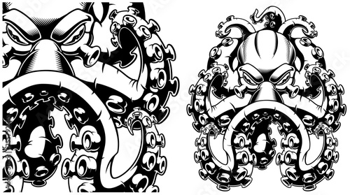 Vector illustration of a octopus black and white