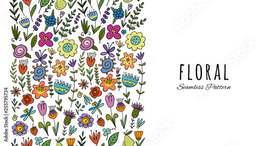 Floral vertical seamless pattern for your design - 255795734