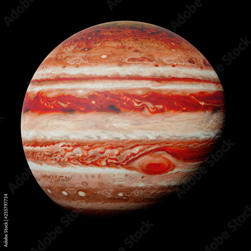 planet Jupiter, part of the solar system isolated on black background (3d space rendering, elements of this image are furnished by NASA) © dottedyeti