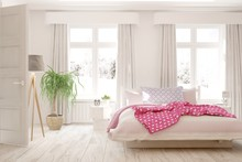 "Постер, картина, фотообои ""White stylish minimalist bedroom. Scandinavian interior design. 3D illustration"""